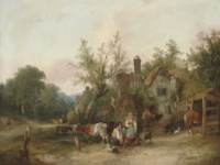 Figures and cattle before cottages in a wooded landscape
