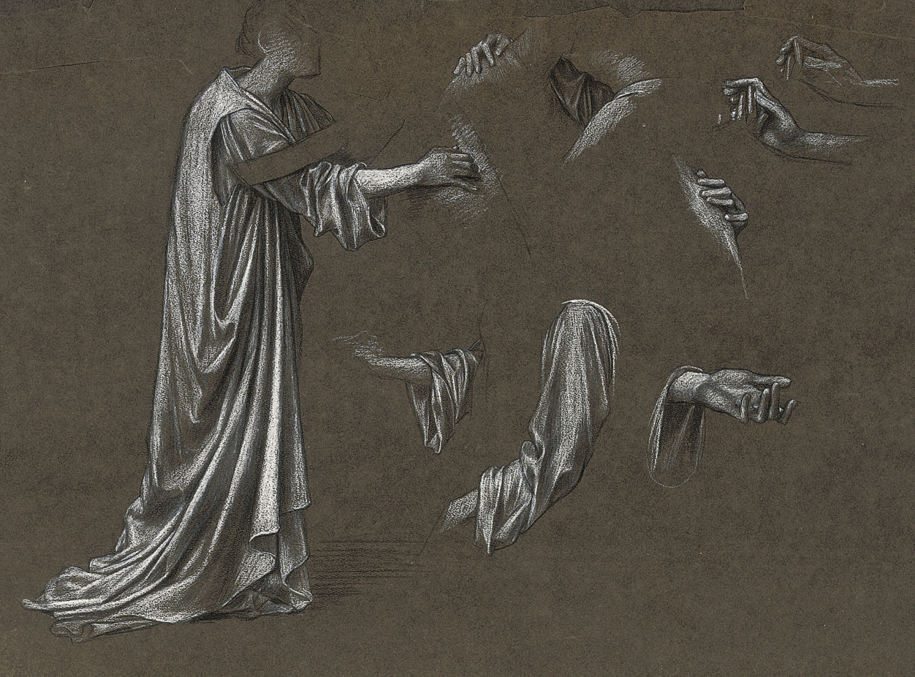 Study of a robed figure with subsidiary studies of hands and arms