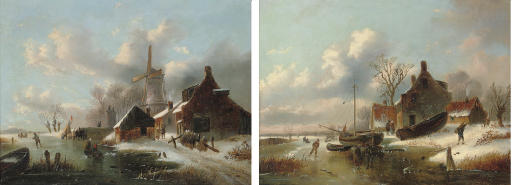 Figures skating by a windmill; and Skaters by a farmstead on a Dutch waterway