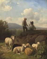 Young shepherds having a smoke
