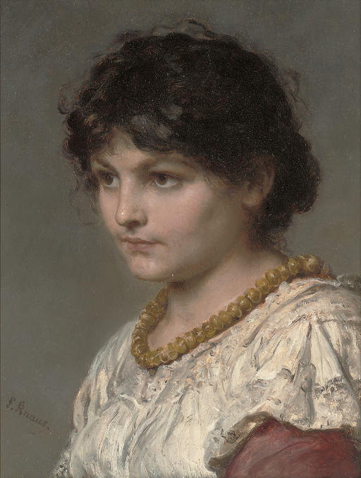 A girl in an amber necklace