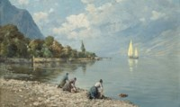 Washerwomen on a North Italian lake