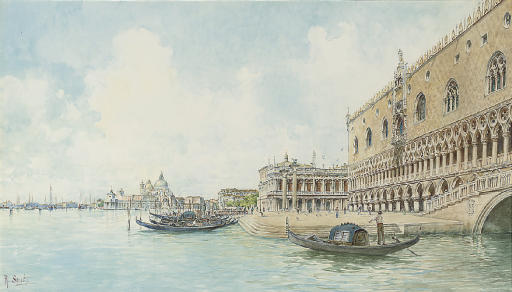 A goldolier before the Molo, Venice