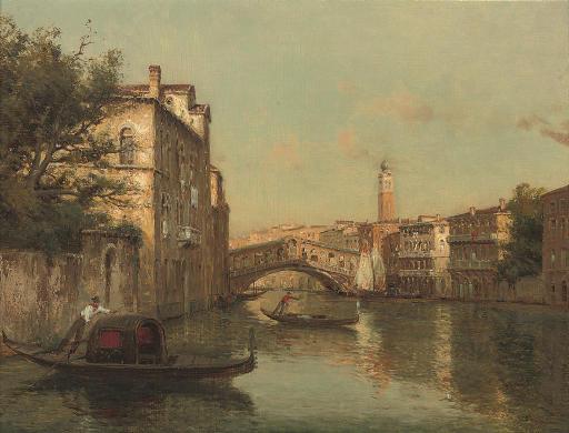 Gondoliers before the Rialto bridge, Venice