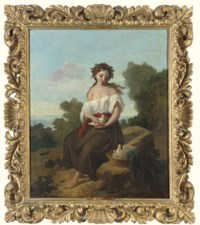 A maiden with doves