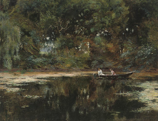 Rowing on the lily pond