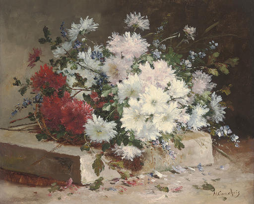 Asters and sweet peas on a stone plinth