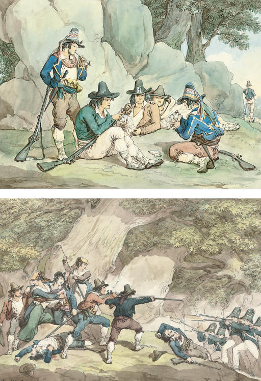 Kingdom of Naples gendarmes fighting the Calabrians; and A game of cards