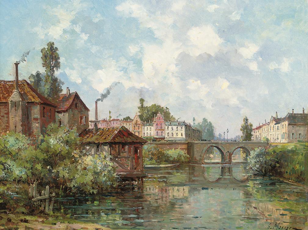 Before a town bridge