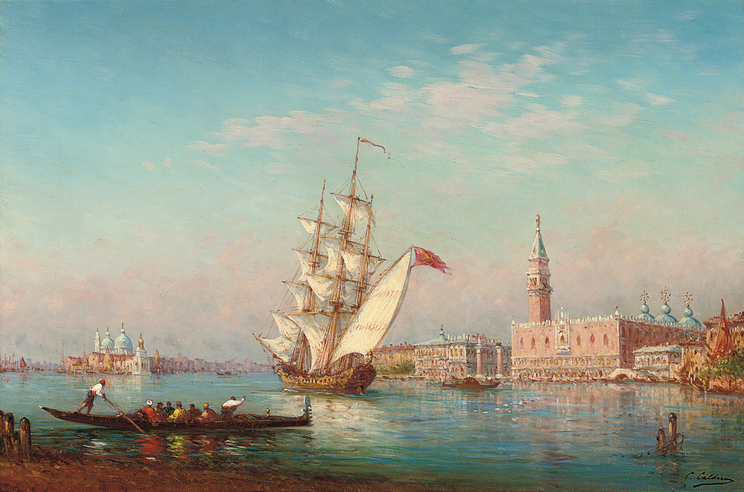 Gondolas and trading vessels before the Doge's Palace, Venice