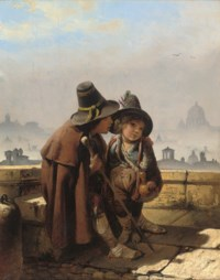 Two street urchins on a rooftop with a panorama of Rome beyond