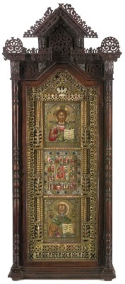A CARVED WOODEN PRIVATE ICONOS