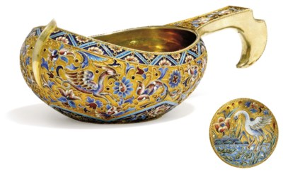 A FINE RUSSIAN SILVER-GILT AND