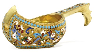 A SMALL RUSSIAN SILVER-GILT AN