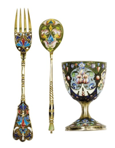 A RUSSIAN SLVER-GILT AND CLOIS