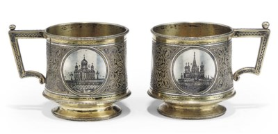 A PAIR OF RUSSIAN PARCEL-GILT