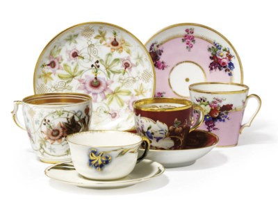 FOUR PORCELAIN CUPS AND SAUCER