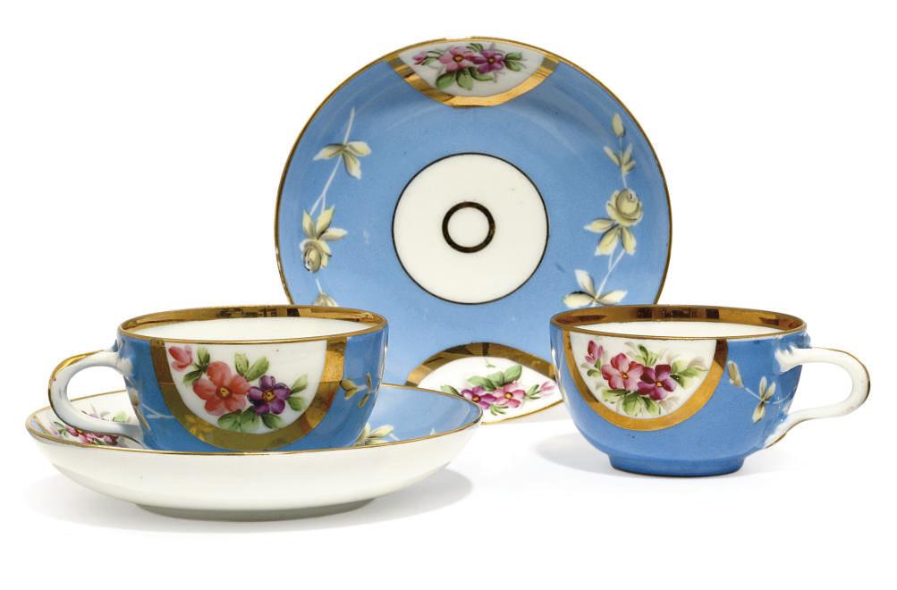 A PAIR OF PALE-BLUE GROUND TEA