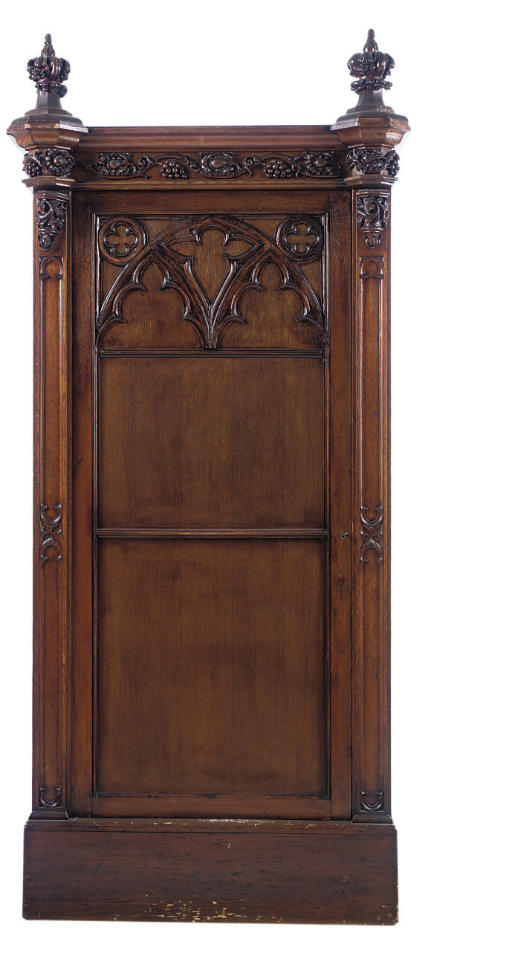 A VICTORIAN GOTHIC OAK AND PIN