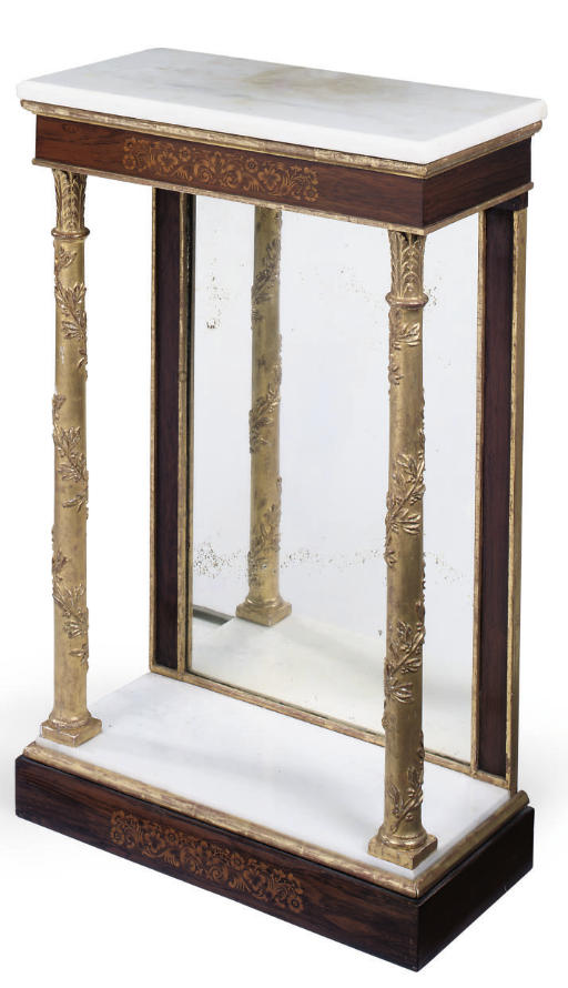 A ROSEWOOD AND PARCEL GILT CONSOLE TABLE