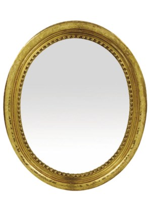 A MID VICTORIAN GILTWOOD OVAL