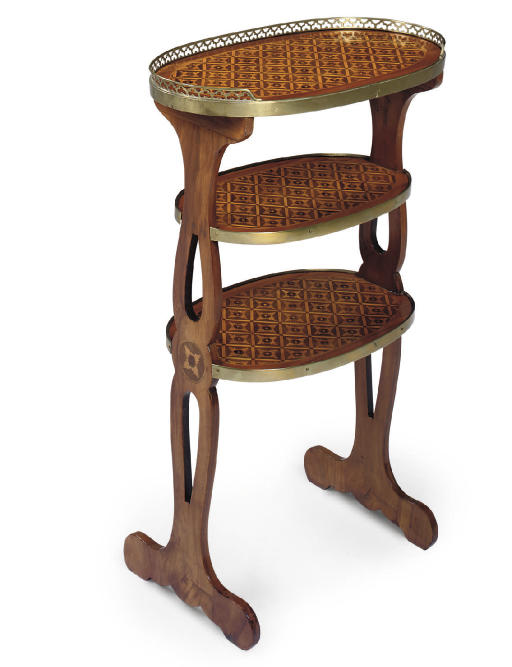 A LOUIS XVI TULIPWOOD AND PARQUETRY ETAGERE