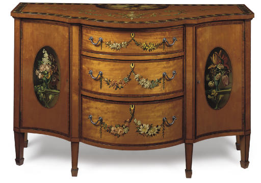 AN EDWARDIAN SATINWOOD AND POLYCHROME DECORATED SIDE CABINET