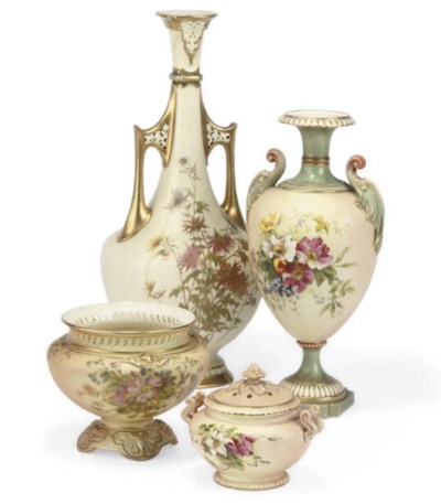 A ROYAL WORCESTER IVORY GROUND