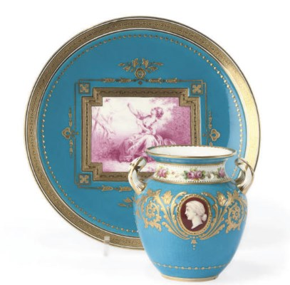 A MINTON TWO-HANDLED OVIFORM T