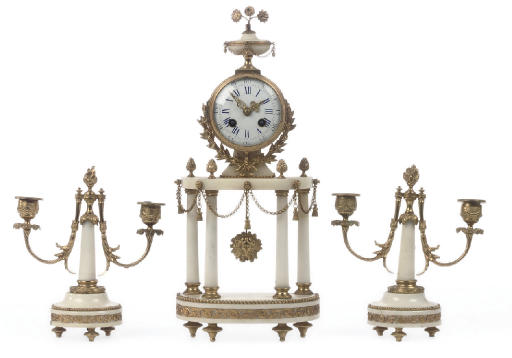 A French gilt-metal mounted white marble striking portico clock and garniture