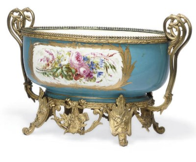 A SEVRES-STYLE TURQUOISE-GROUN