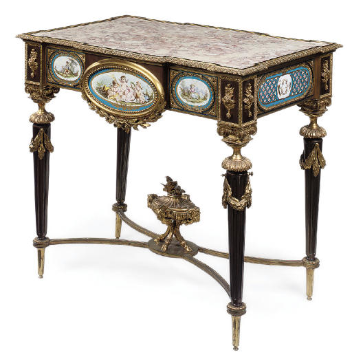 A PORCELAIN MOUNTED ORMOLU AND BRASS CENTRE TABLE