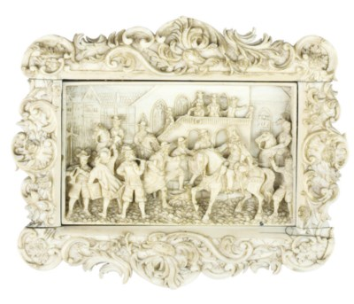 A FRENCH IVORY RELIEF OF SOLDI