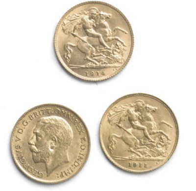 THREE GEORGE V HALF SOVEREIGNS