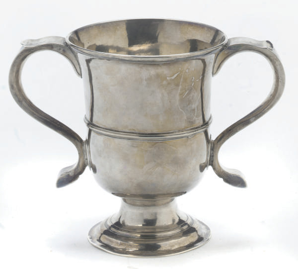 A GEORGE II PROVINCIAL SILVER TWO-HANDLED CUP