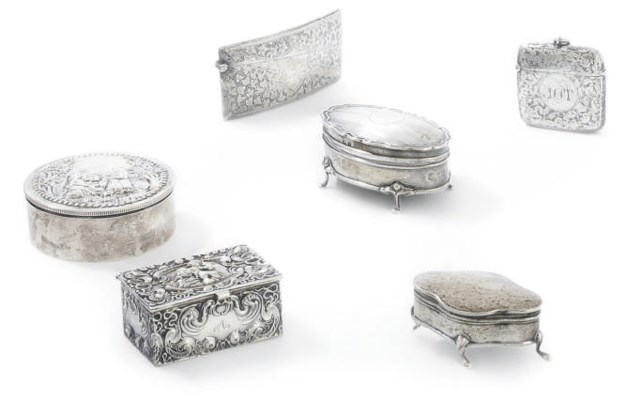 A GROUP OF SILVER BOXES