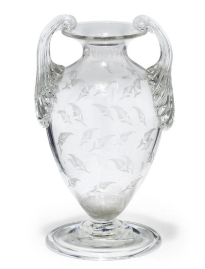 AN ENGLISH ENGRAVED GLASS VASE