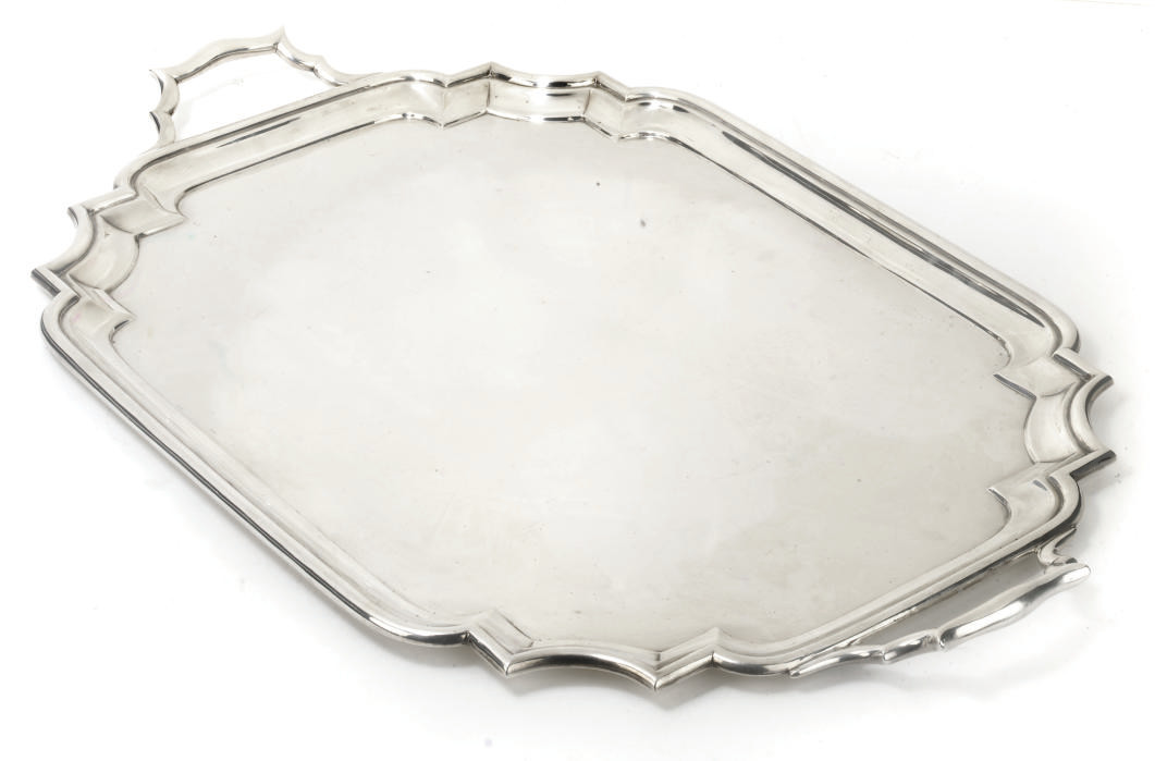 A LARGE SILVER TWO-HANDLED TRA
