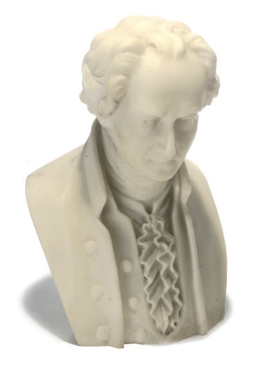 A WHITE MARBLE BUST OF A COMPO