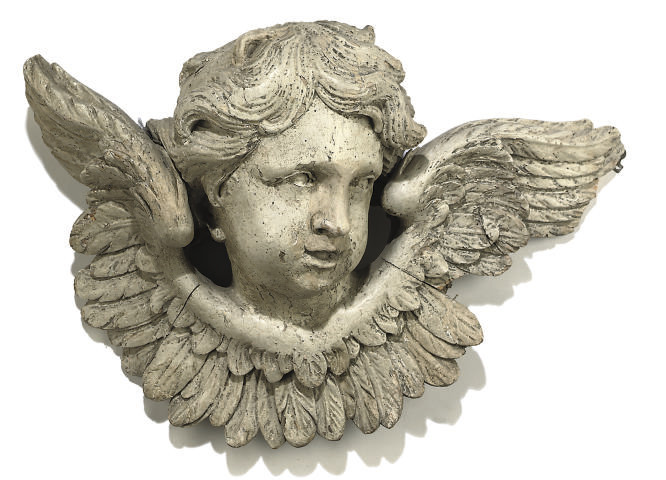 A GREY-PAINTED WOOD BUST OF AN