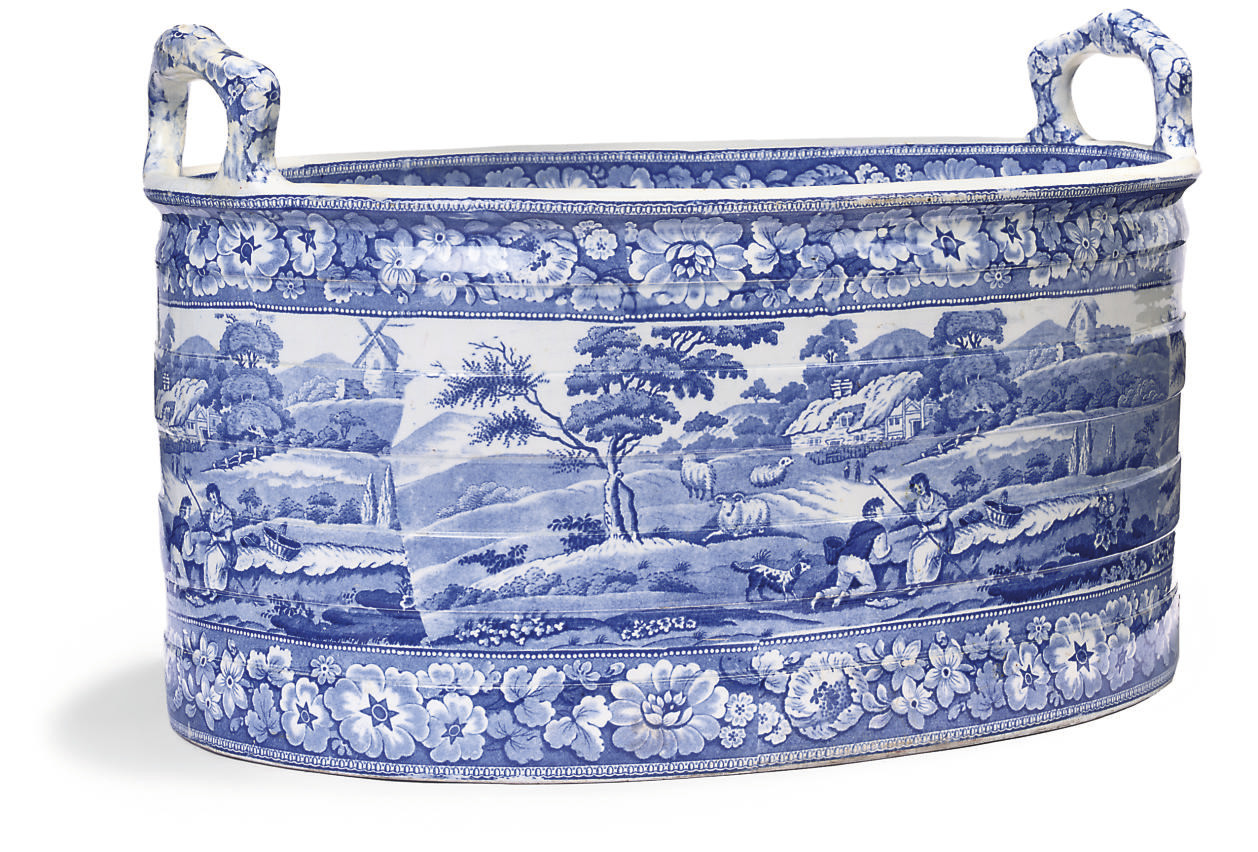 A STEVENSON PEARLWARE BLUE AND