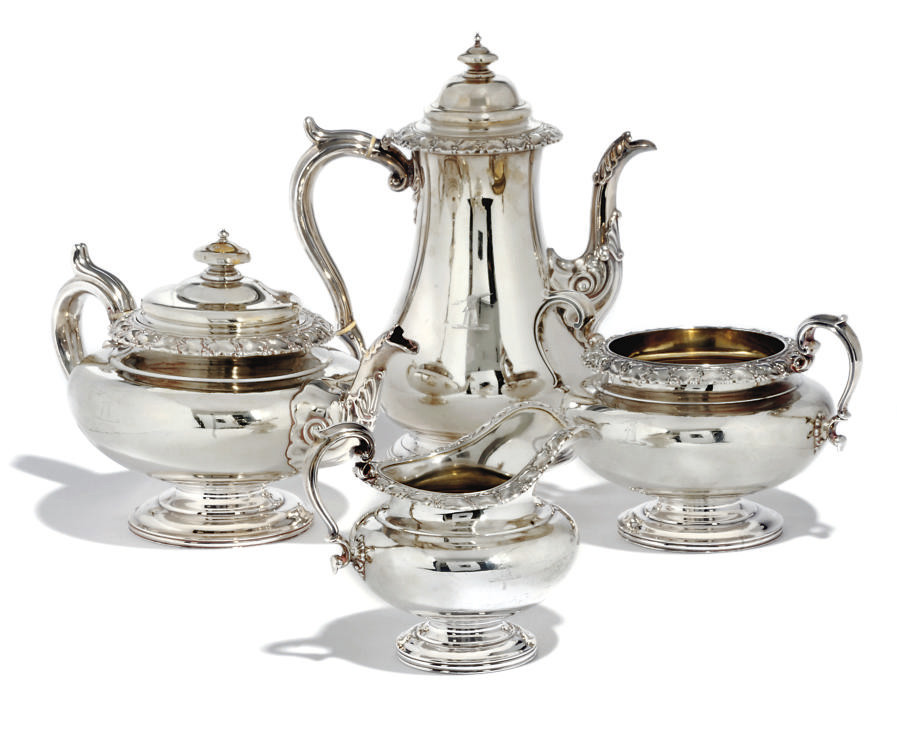 A WILLIAM IV FOUR-PIECE TEA AN