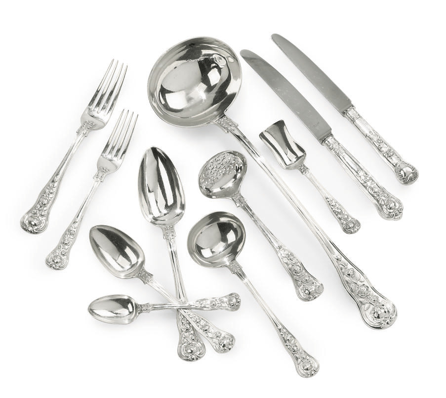 A COMPREHENSIVE COLLECTED GEORGE IV/WILLIAM IV/VICTORIAN SILVER TABLE SERVICE OF ROSE PATTERN FLATWARE