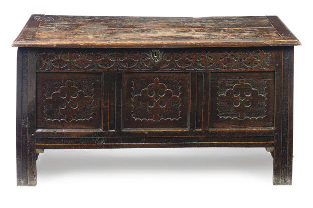 A NORTH COUNTRY CARVED OAK COF