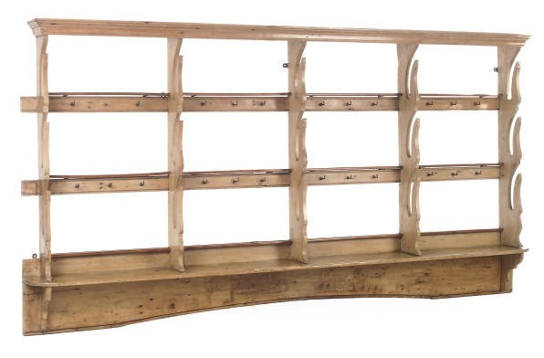 A STRIPPED PINE HANGING RACK