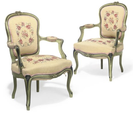 A PAIR OF FRENCH GREEN PAINTED