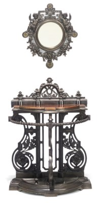 A VICTORIAN CAST IRON CONSOLE