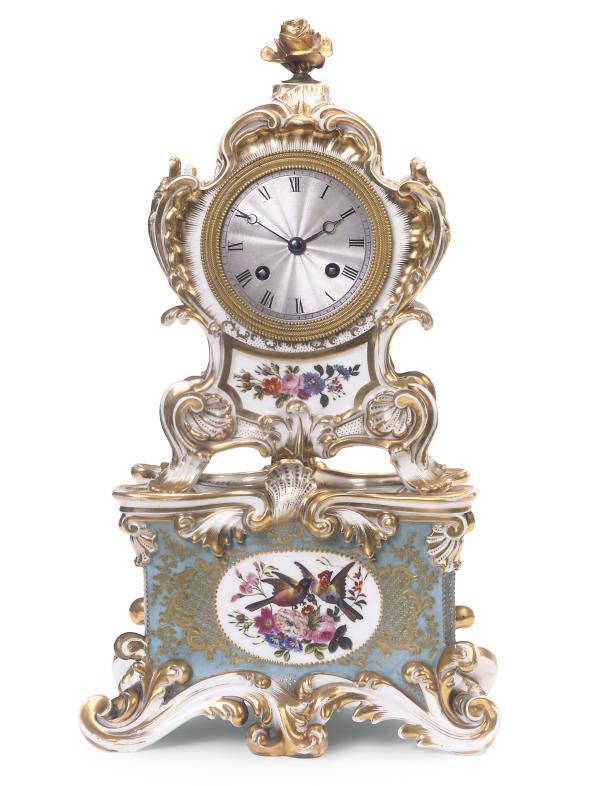 A FRENCH (JACOB PETIT) PORCELAIN PALE-BLUE-GROUND CLOCK-CASE