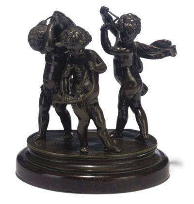 A FRENCH BRONZE GROUP OF THREE