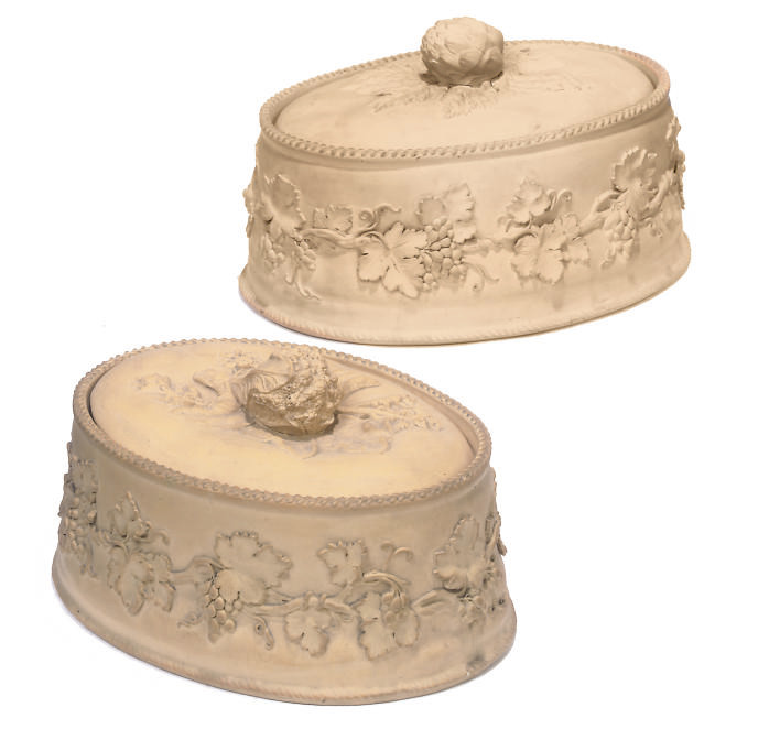 TWO WEDGWOOD CANEWARE GAME PIE